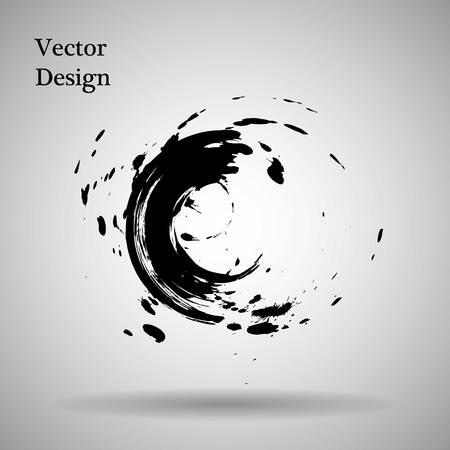 garabatos: Dibujado a mano la forma de círculo. etiqueta, logotipo elemento de diseño. Cepillar abstracto de la onda. ENOS negro símbolo del zen. Ilustración del vector. Objeto Vectores