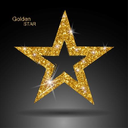 privilege: Golden star vector banner. Gold glitter star. Gold template star for banner, card, vip, exclusive, certificate, gift, luxury, privilege voucher store present shopping