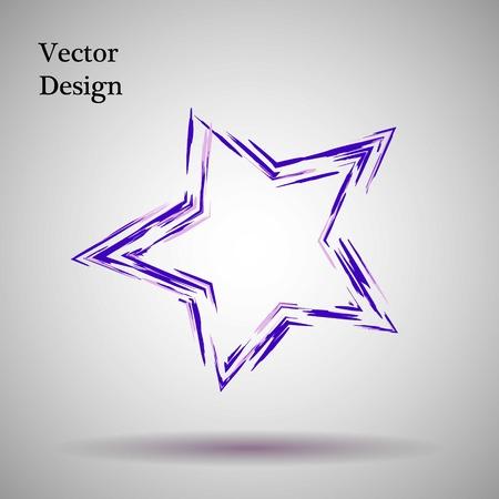 grange: Purple,lilac grange star Vector illustration. Ink object