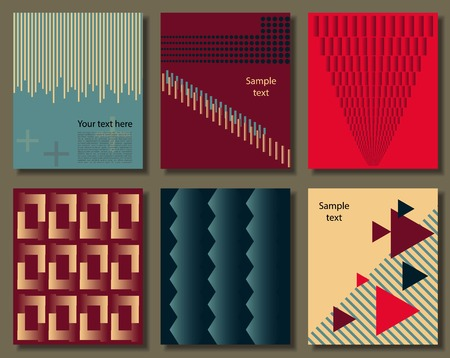 Collection of universal cards. Templates with trendy geometric shapes, patterns and colors. Creative unusual posters  イラスト・ベクター素材