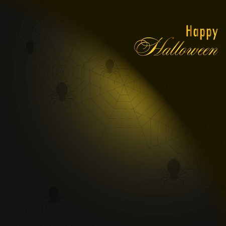 Background with spiders and web.Happy halloween. Template Çizim
