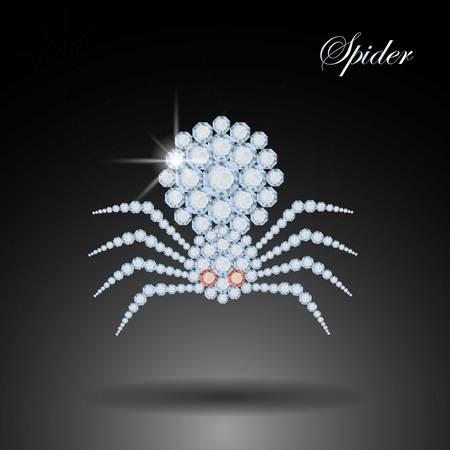 piedras preciosas: ara�a de diamantes. s�mbolo de Halloween. Decoraci�n Piedras preciosas joyas
