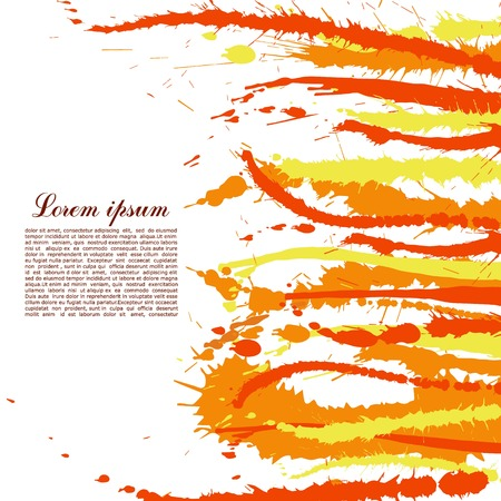 spatters: Colorful abstract yellow and orange splashes and spatters. Modern creative background for trendy design.