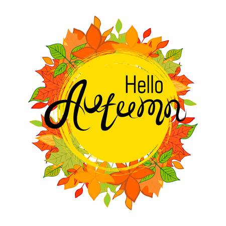 Hello, Autumn.The inscription on the autumn background. Yellow and orange leaves