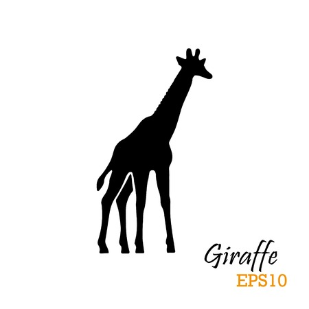 Silhouette of a giraffe. Vector illustration. 向量圖像