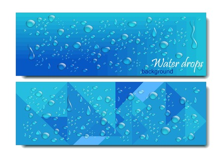 Horizontal Banners Set with Water Drops. Vector illustration. Realistic Transparent Dew on Blue Background