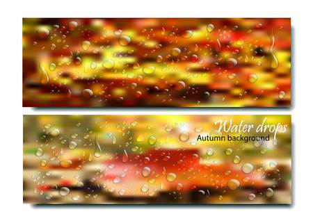 rain window: Realistic water droplets on the autumn background.Vector beautiful concept of autumn rainy window with water drops and droplets on orange blurred background with bokeh. Rain drops on glass. Autumn day vector concept. Many rain drops on fall window.