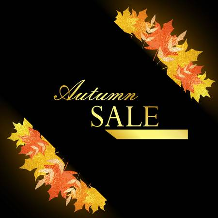 autumn leaves background: Universal autumn design with seasonal maple leaves. Fall leaves banner with golden glitter texture on a black background. Vector illustration. Autumn sale Illustration