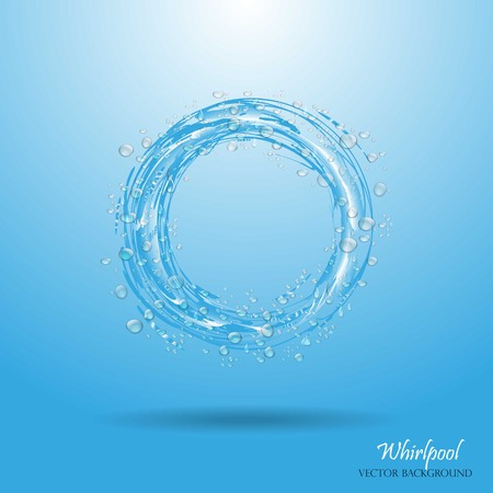 Water circle. Whirlpool, realistic water droplets Vector illustration Illustration