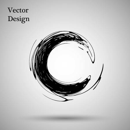 Hand drawn circle shape. label,  design element. Brush abstract wave. Black enso zen symbol. Vector illustration Illustration
