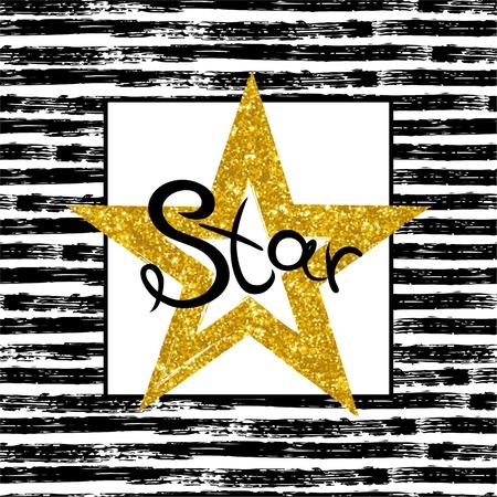 Golden Star on striped background. Vector illustration