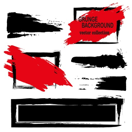 Large grunge elements set. Brush strokes, banners, borders, splashes splatters Vector illustration. Black and red Illusztráció
