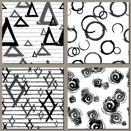 Collection of Creative Hand Drawn seamless patterns. Triangles, drops, rhombus , stripes grunge endless textures Illustration