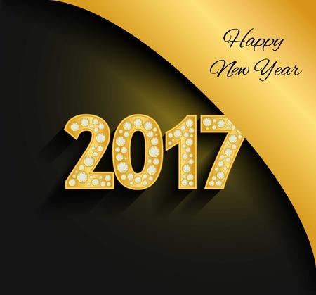 gold numbers: Happy New Year 2017. Gold numbers. Diamonds, jewels, rhinestones Luxury design elements Illustration