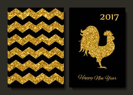 new year card: Happy New Year 2017 background with gold shiny rooster silhouette. New Year s greetings card. Vector illustration. Cards, banners.
