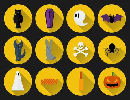 Set of vector flat design Halloween icons Illustration