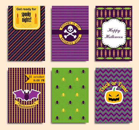Halloween party invitation, greeting card, flyer, banner, poster templates. Hand drawn traditional symbols, cute design elements. Vector collection