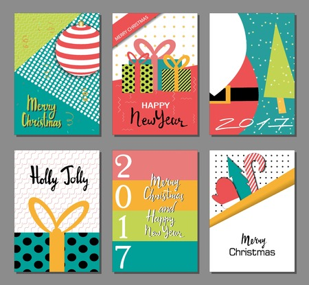 Set of Merry Christmas and New Year flat design greeting card, background, invitation, poster, flyer. Holidays elements - noel,ball, gift, mitten