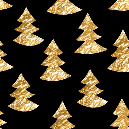 Seamless pattern with gold leaf textured spruces on the black background.