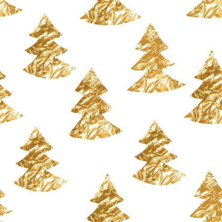 glittery: Seamless pattern with gold leaf textured spruces on the white background. Illustration