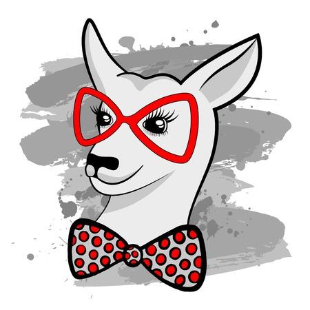 Fashion Portret van Hipster kangoeroe met rode bril en boog