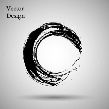 Hand drawn circle shape. label, design element. Brush abstract wave. Black enso zen symbol. Vector illustration