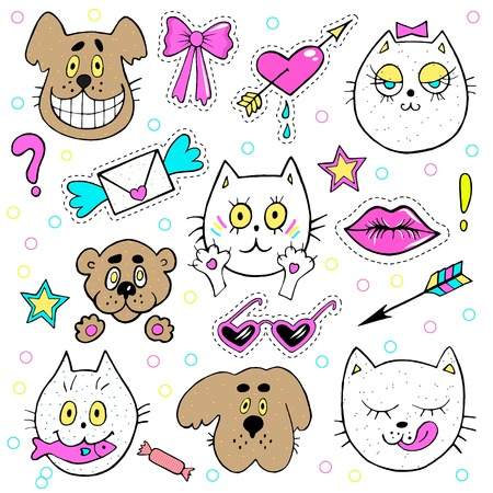 fashion design: Fashion patch badges with kitten, puppy, teddy bear, lips, envelope and other elements. Vector illustration isolated on white background. Set of stickers, pins, patches in cartoon 80s-90s comic style