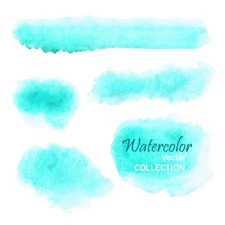 Conjunto de manchas de acuarela lisos en colores pastel suaves - azul, turquesa, aguamarina Ilustración de vector