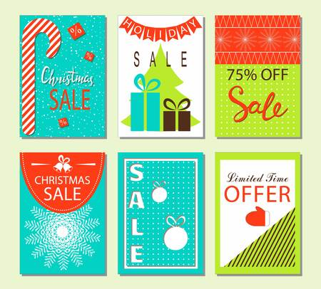Christmas sale and discount templates. Set of banners, flyers or posters. Set of Merry Christmas and New Year flat design greeting card. Vector collection Illusztráció