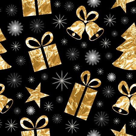 glittery: Seamless pattern with gold foil textured bells, gift, fir-tree, star. Golden elements on a black background