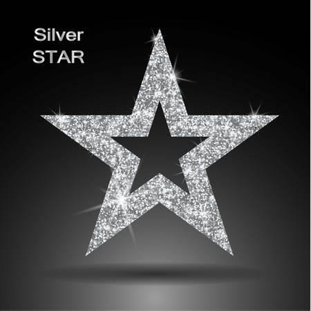 privilege: Silver star vector banner. Silver glitter . Template , card, vip, exclusive, certificate, gift luxury privilege voucher store present shopping
