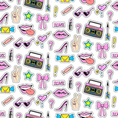 Seamless pattern with fashion patch badges with shoes, tape, lips, lipstick and other elements.Vector background with stickers, pins, patches in cartoon 80s-90s comic style