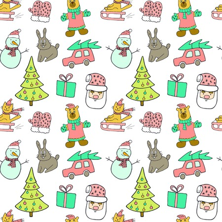 year of the rabbit: Cute Christmas and New Year seamless pattern.Cat on a sled, christmas tree, rabbit, car, gift, snowman and Santa Claus. Illustration