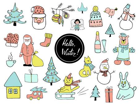 Set of Christmas and New Year doodle holiday characters Santa, bear, snowman, noel, gift, cat on a sled, rabbit, angel, car, cup and other items. Funny cute design Illusztráció