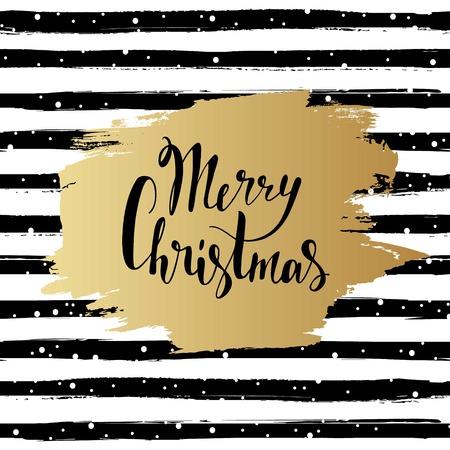 Merry Christmas vector illustration. Hand drawn lettering. Golden brush stroke on striped background. Greeting card