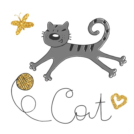 Vector illustration of hand drawn sketch . Cat playing with a ball. Golden butterfly and clew. Illustration