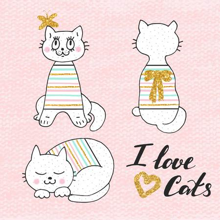 Cute  illustration of white cat in striped sweater . Lovely hand drawn card. Details with gold glitter Ilustração