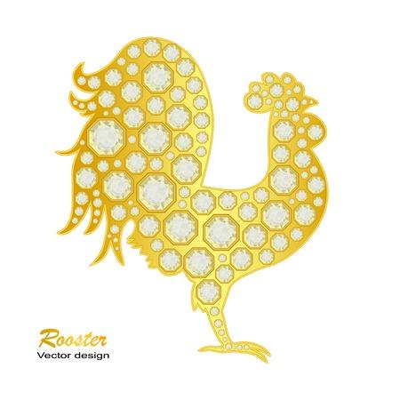 Gallo de oro con diamantes en blanco. ilustración. Feliz año nuevo 2017 Ilustración de vector