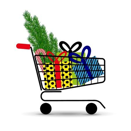 Supermarket shopping cart full of holyday gifts and fir-tree. Vector illustration