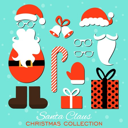 fake nose and glasses: Merry Christmas. Set of various Santa hats, moustache, beards, gifts, boots, gloves and bells isolated on blue background Illustration