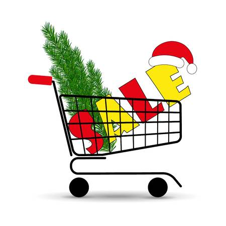Christmas sale. Supermarket shopping cart with Christmas tree and Santa hats. Vector illustration