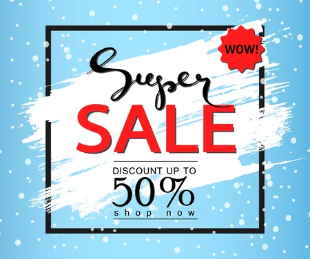 half price: Super sale on a blue background. Brush stroke.Vector banner