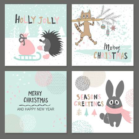 santa sleigh: Merry Christmas greeting card set with cute hedgehog, cat, rabbit and other elements. Cute Hand drawn holiday cards and invitations.