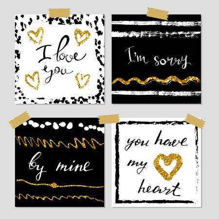 A set of hand drawn style greeting cards in black, golden and white. Valentine s Day card templates. Brush design elements. Illustration