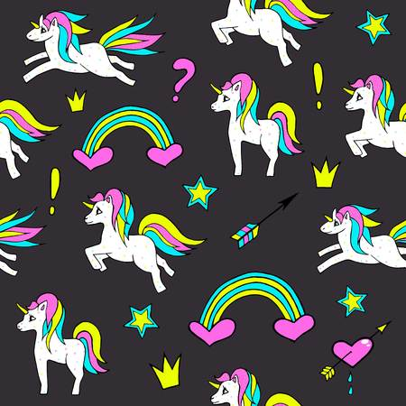 Seamless pattern with unicorns, rainbow, heart, crown and other elements.Vector background with stickers, pins, patches in cartoon 80s-90s comic style.