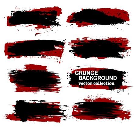 Large grunge elements set. Brush strokes, banners, borders, splashes splatters Vector collection Illustration