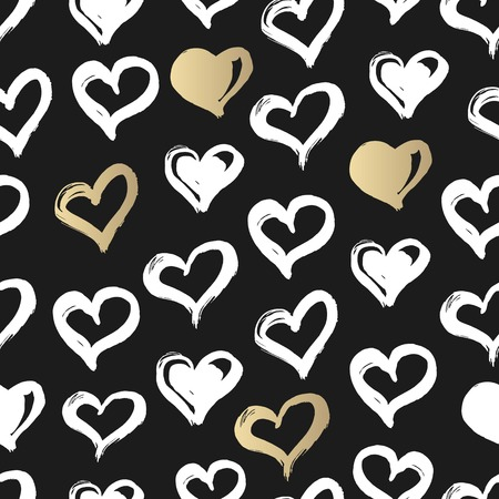 printables: Seamless heart pattern. Hand drawn with ink. Black, gold and white. Love concept. Heart pattern for printables, scrapbooking, baby shower, wedding invitations, birthday cards. Hand Drawn vector illustration.