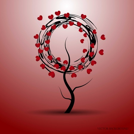 Vector illustration of a love tree with abstract circles and red hearts. Valentines Day and other occasions. Illustration