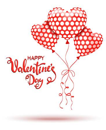 Happy Valentines Day. Red balloons and hand drawn lettering.