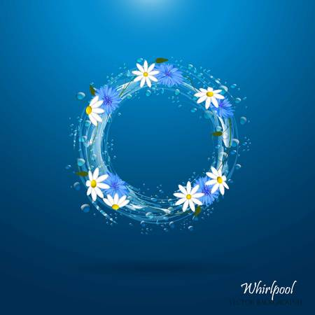 Water circle with flowers. Whirlpool, realistic water droplets Vector illustration Illustration